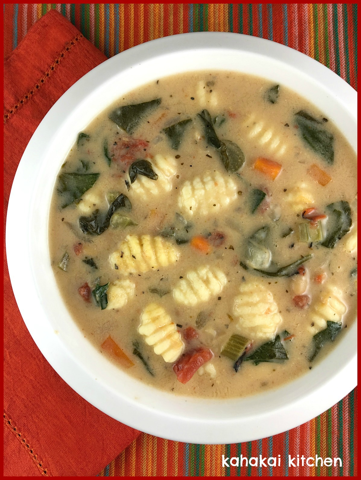 Kahakai Kitchen: Creamy Gnocchi and Bean Soup, Topped with Spinach ...