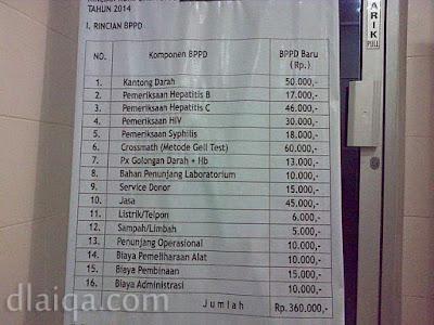 biaya pengganti pengolahan darah (bppd) Rp.360.000,-