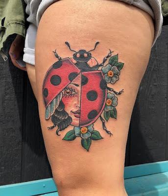 leg Ladybug On Leaf Tattoo