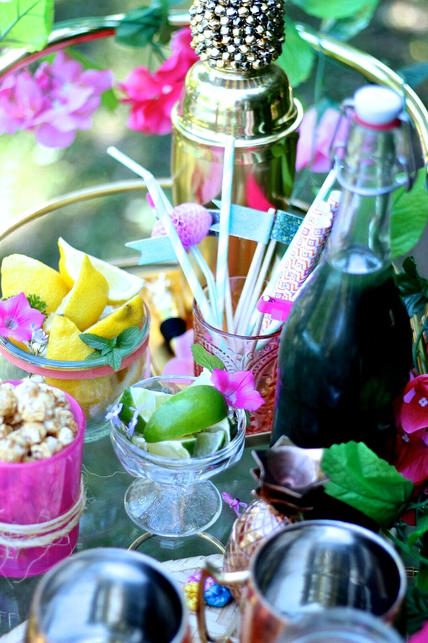 Summer Blogger Toronto Pool Party- Entertaining tips, flamingo floats, crudite platter, green juice popsicle