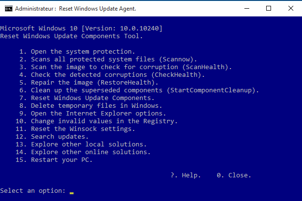 Reset Windows 7, 8, 10 Update Agent is only available in English.