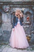 designer long pink tutu gown