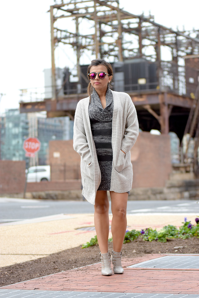 Wearing: Sweater Dress: Charlotte Ruse  Shoes: Shoedazzle  Cardigan: Choies