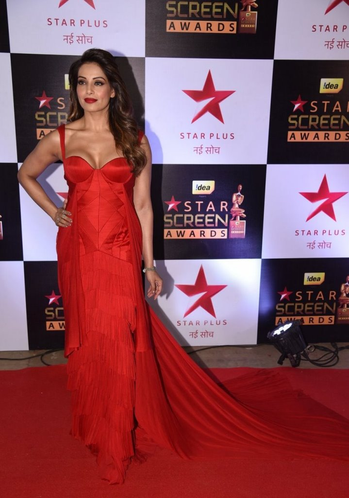 Actress Bipasha Basu at Star Screen Awards In Red Dress