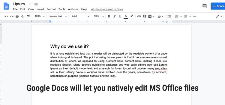 Edit MS Office files in Google Drive