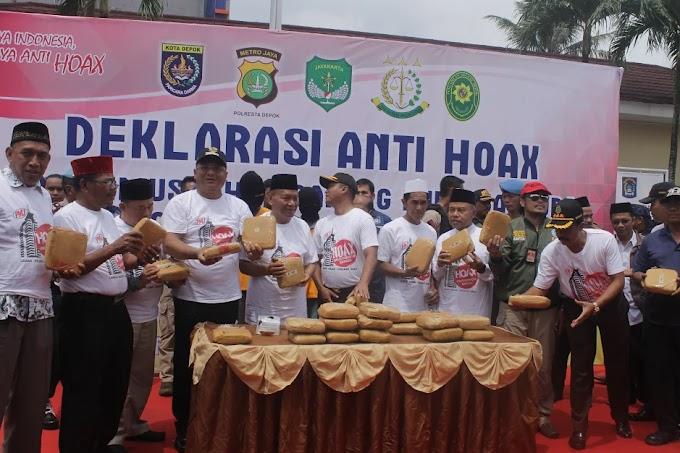 Polresta Depok Bersama Elemen Masyarakat Dekralarasi Anti Hoax