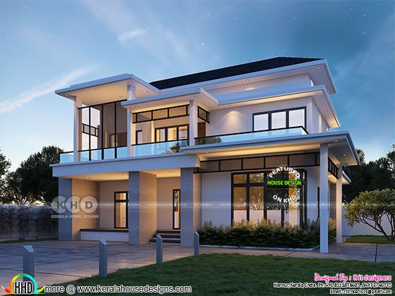 3 BHK modern house plan in 3207 sq-ft