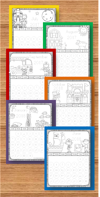 FREE 2017 - 2018 Printable Calendar - fun monthly themes to color and learn new vocabulary! These free printable calendar are great for learning about days of the week, months, counting to 30, counting down to special days and so much more for toddler, preschool, prek, kindergarten, first grade, 2nd grade, 3rd grade