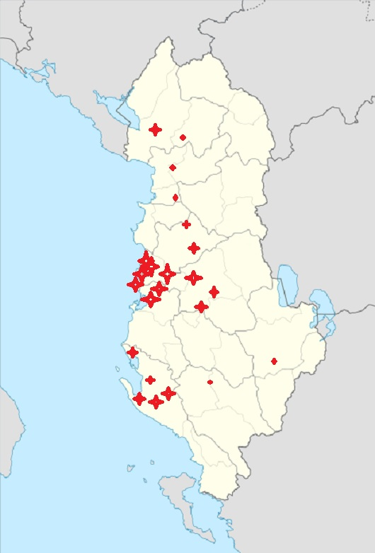 The Map of Criminal Gangs of Albania according to police