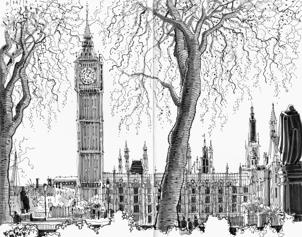 07-Houses-of-Parliament-and-Big-Ben-Phil-Dean-The-Shoreditch-Sketcher-Travelling-around-Europe-www-designstack-co
