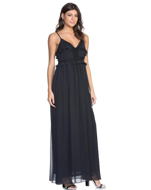 Moda vestido longo cartagena preto