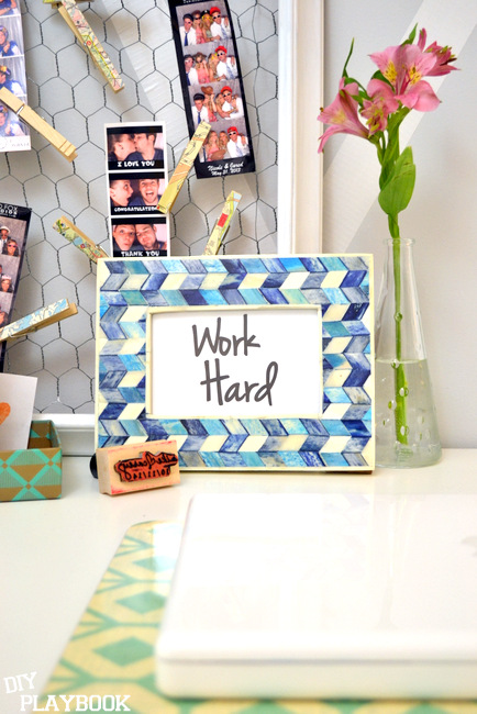 work hard print in blue frame