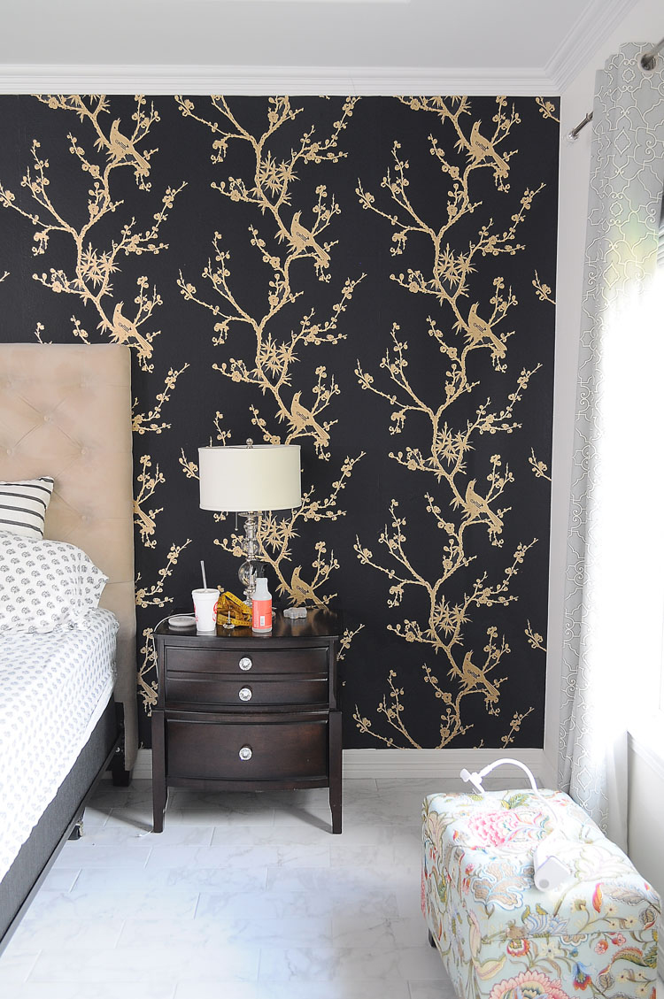 This Tempaper design is gorgeous! Cynthia Rowley's Bird Watching tempaper in black and gold.