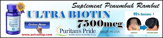 Banner Puritan Pride Ultra Biotin 7500 mcg atau Suplemen Penumbuh Rambut & Kuku - 100 kapsul