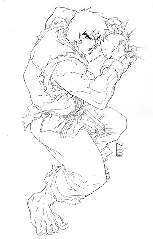 free coloring pages of ryu street fighter