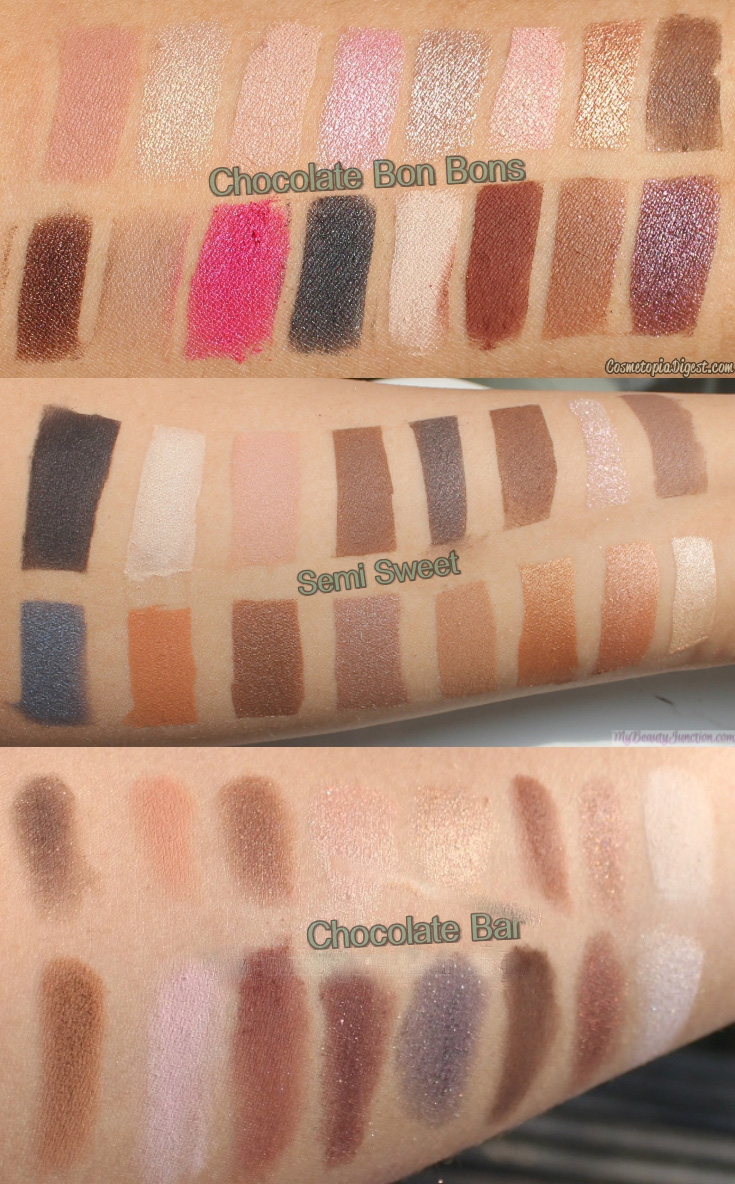 Too Faced Chocolate Bon Bons Palette vs Semi-Sweet vs Chocolate ...