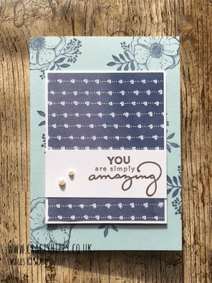 Amazing You, Stampin' Up! Create a gorgeous card in Night of Navy, Soft Sky and Early Espresso. www.craftyhippy.co.uk