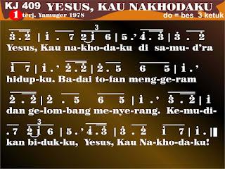 Lirik dan Not Kidung Jemaat 409 Yesus, Kau Nahkodaku