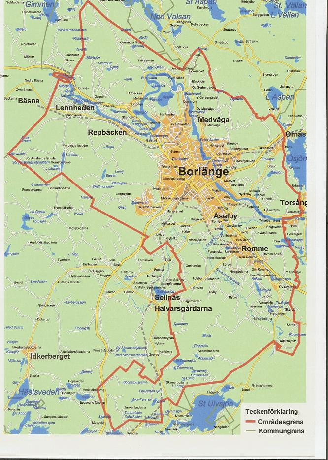 borlänge karta Borlange centrala fiskevårdsområde: Karta över fiskevårdsområdet