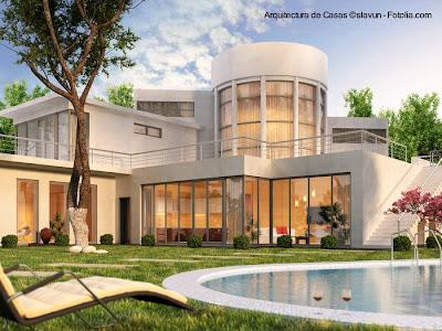 Imagen de una residencia contemporánea por renderizado