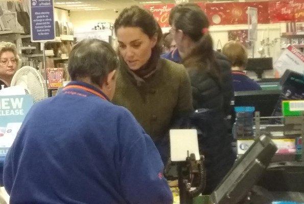 Kate Middleton wore Dubarry Bracken tweed utility jacket. Princess Charlotte and Prince George at at Range store
