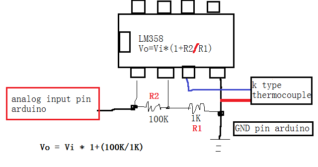 dise u00f1o electr u00f3nico  k thermocouple conditioner with lm358