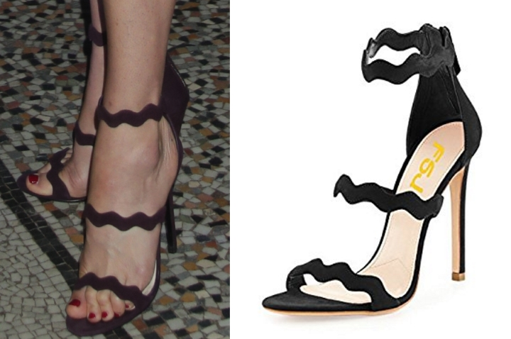 994e8e2d39f9 The FSJ Women Hot Open Toe Strappy Heeled Sandals Suede Dress Shoes retail  for just  55 at Amazon. They feature the same scalloped detail.