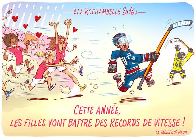dessin humoristique représentant des hockeyeurs poursuivis par des coureuses