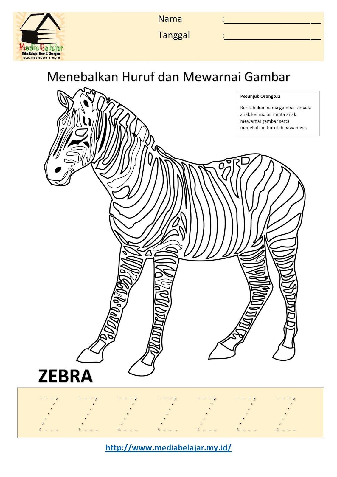 Menebalkan Huruf Z dan Mewarnai Gambar Zebra
