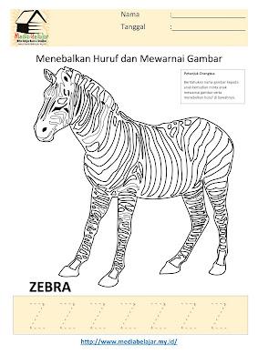 Lembar Kerja Paud Menebalkan Huruf Z dan Mewarnai Gambar Zebra