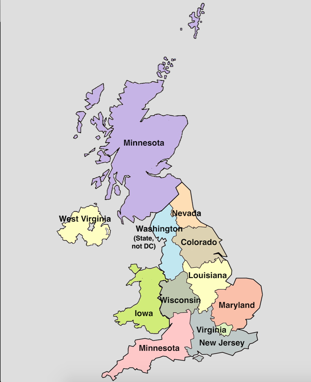 U.S. states populations superimposed in U.K. regions