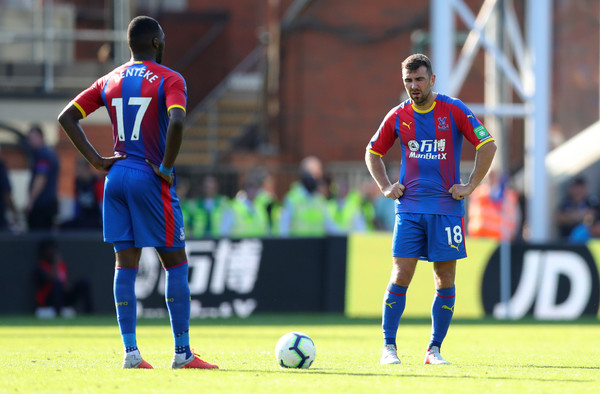 Christian Benteke, and James McArthur of Crystal Palace look dejcted after conceding during the Premier League match between Crystal Palace and Southampton FC at Selhurst Park on September 1, 2018 in London, United Kingdom.