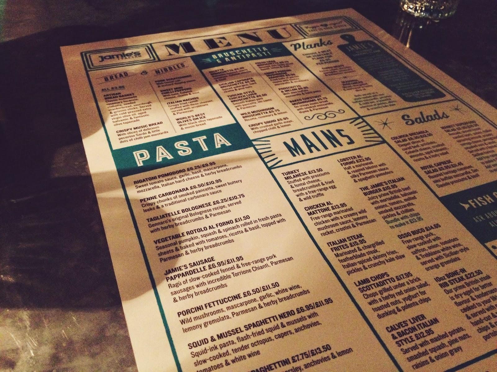 Jamie's Italian Aberdeen menu