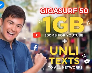 Sun GigaSurf 50 – 1GB Data, 300MB YouTube + Unli-text to all Networks