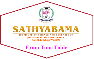 Sathyabama University Time Table May/June 2020