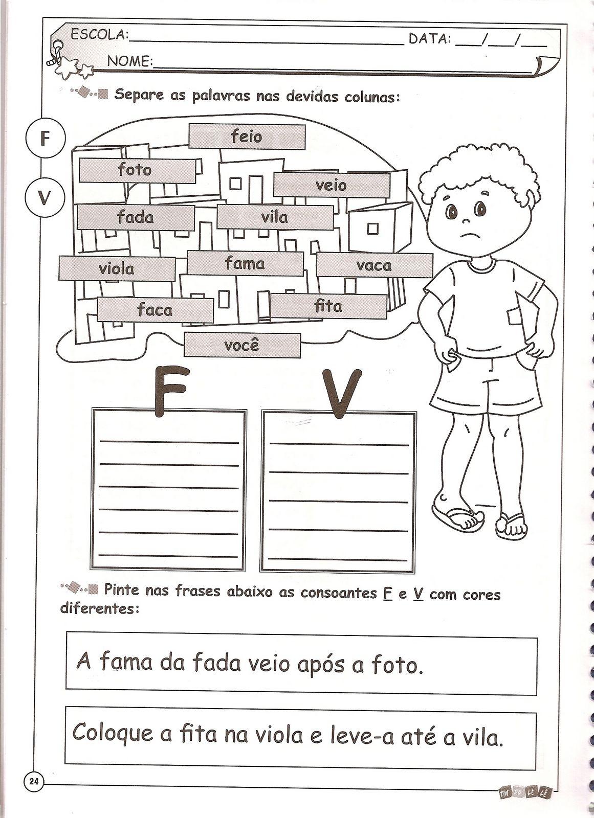 Paraiso Da Alfabetizacao Ortografia F V