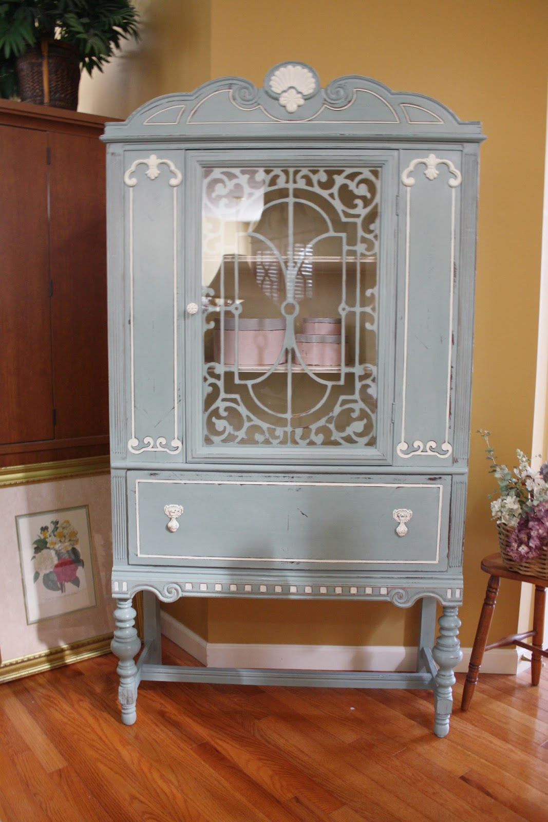 Painted vintage china cabinet.
