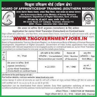 Junior-Hindi-Translator-Vacancy-in-Board-of-Apprentice-Office-Chennai