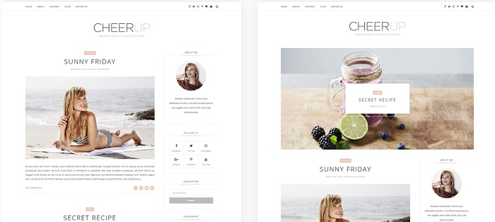 plantilla bonita minimalista para blogger cheerup themexpose