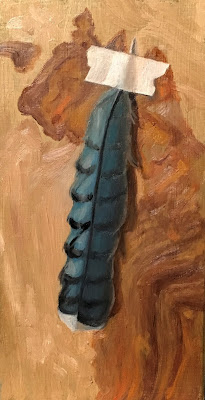 trompe l'oeil, feather painting, blue feather