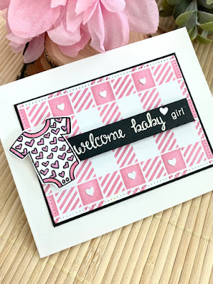 Coordinating Baby Gift Projects by August Guest Designer Angie Cimbalo | Loveable Laundry Stamp Set, Happy Little Thoughts Stamp Set, and Gingham Stencil by Newton's Nook Designs #newtonsnook #handmade