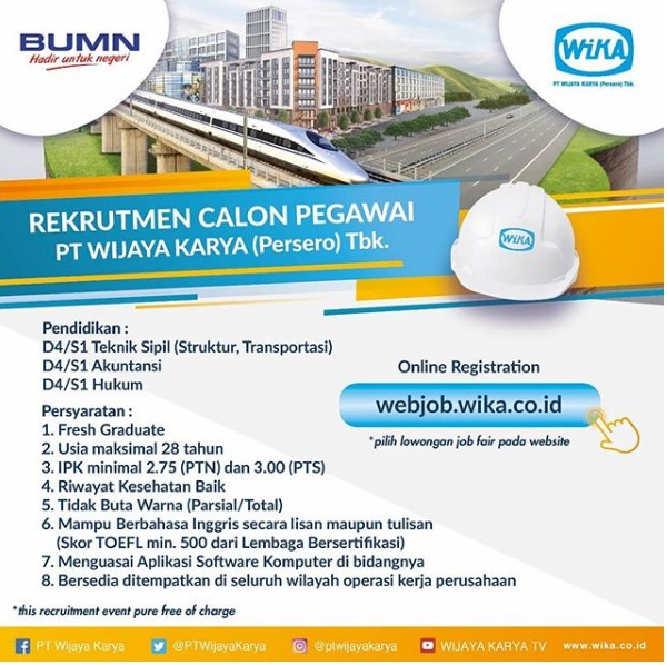 Rekrutmen BUMN PT Wijaya Karya (Persero) Tahun 2018