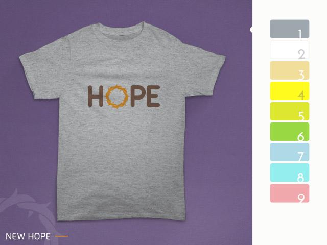 desain kaos hope diterapkan pada kain misty grey