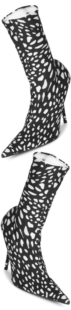 Balenciaga Animal-Print Booties Ivory Black