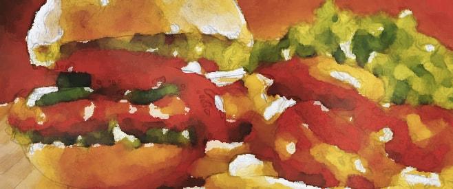 水彩画のハンバーガー