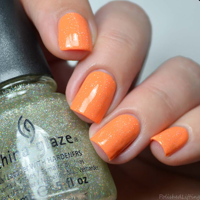 holographic topper orange nail polish