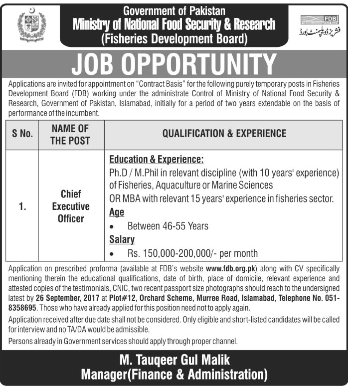 Officers Need In Ministry Of National Food And Security Research Islamabad Aug 2017
