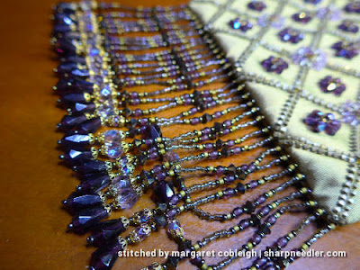 Fringe detail on beaded silk purse. (Rare Vintage by Liz Vickery, Inspirations, bead embroidered purse)