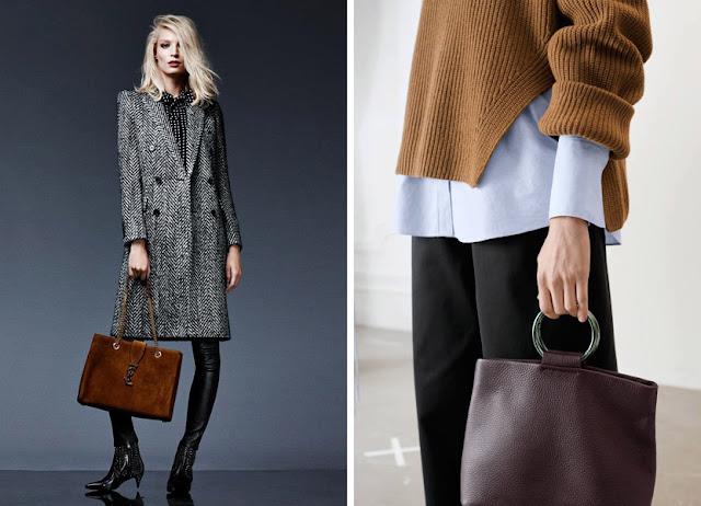 Пальто из ткани в елочку и свитер с вязкой резинкой