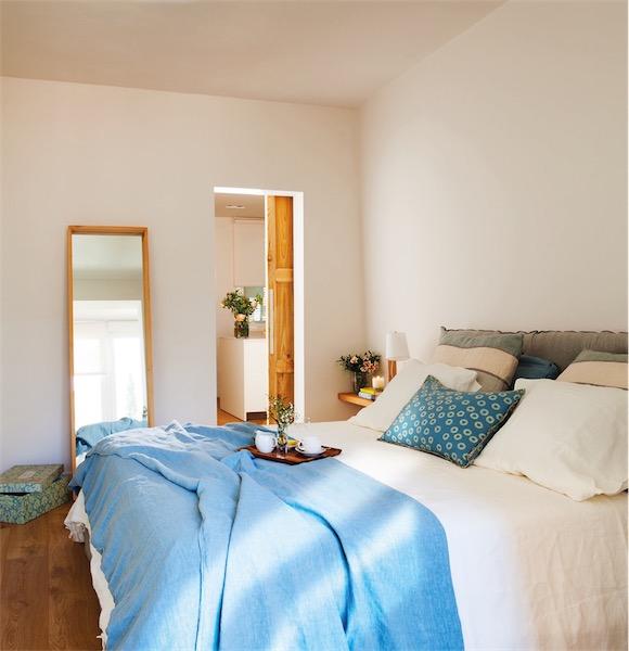 textiles de algodon rustico en el dormitorio